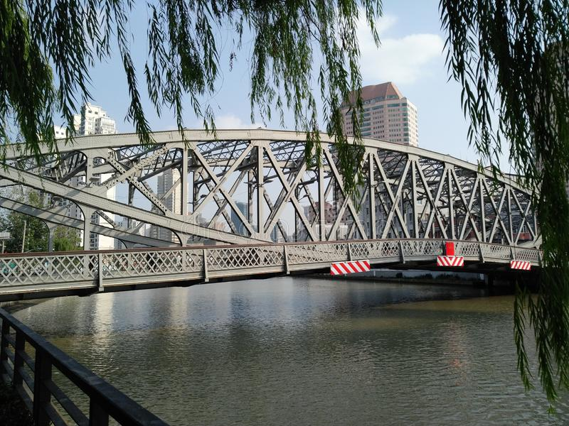 Steel bridge in Shanghai royalty free stock photos