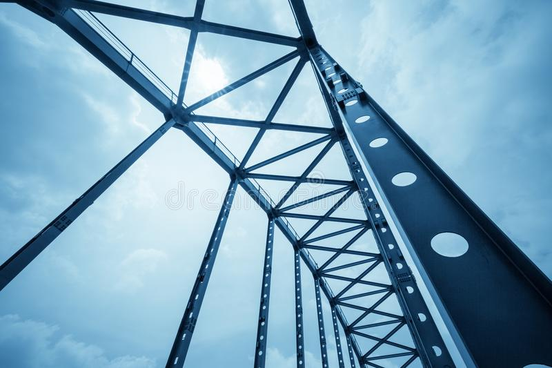 Steel structure bridge closeup stock photography