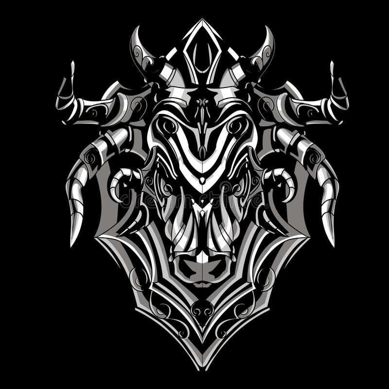 Steel bull. Bull of durable iron, a formidable and strong vector illustration