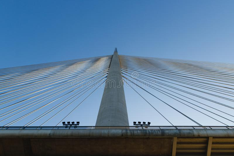 300 meters high spike on the steel cable bridge in Belgrade royalty free stock photo