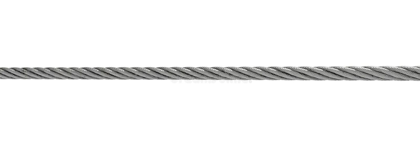 Steel cable isolated on white royalty free stock photography