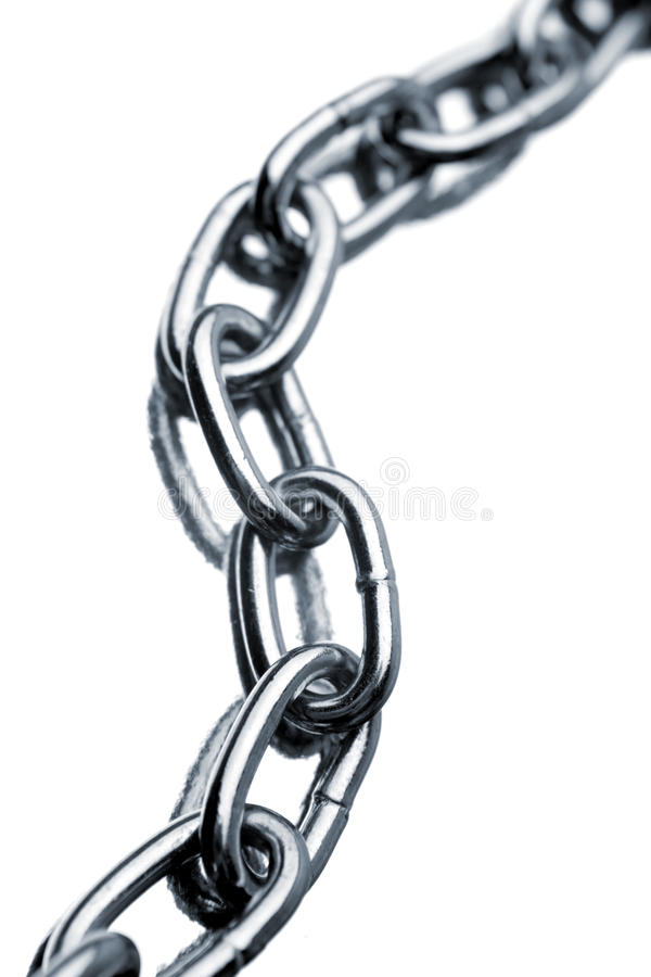 Steel chain. Links on white background stock image