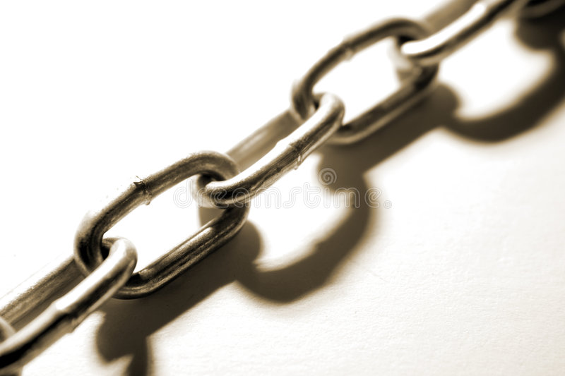 Steel chain. Links and shadow royalty free stock photos