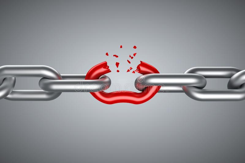 Steel chain breaking with unique red link vector illustration