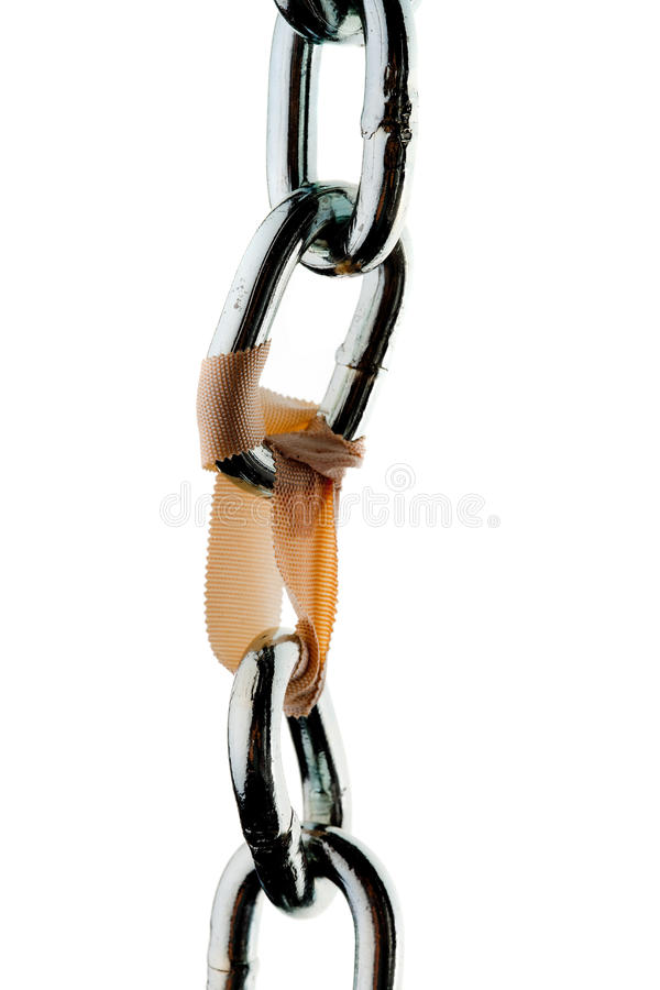 Steel chain and clip. Defective steel chain is held together by a paperclip stock image