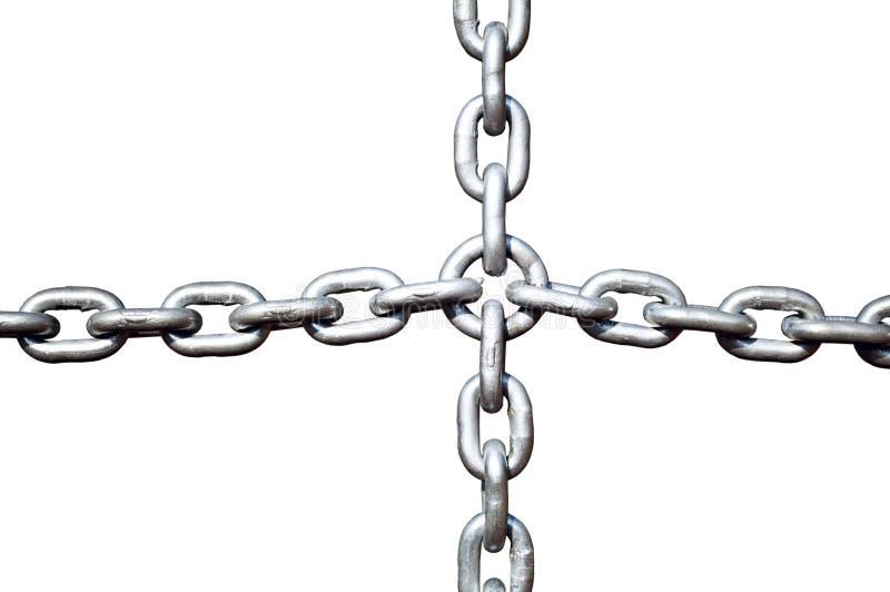 Steel chain cross lock isolated on white stock photos