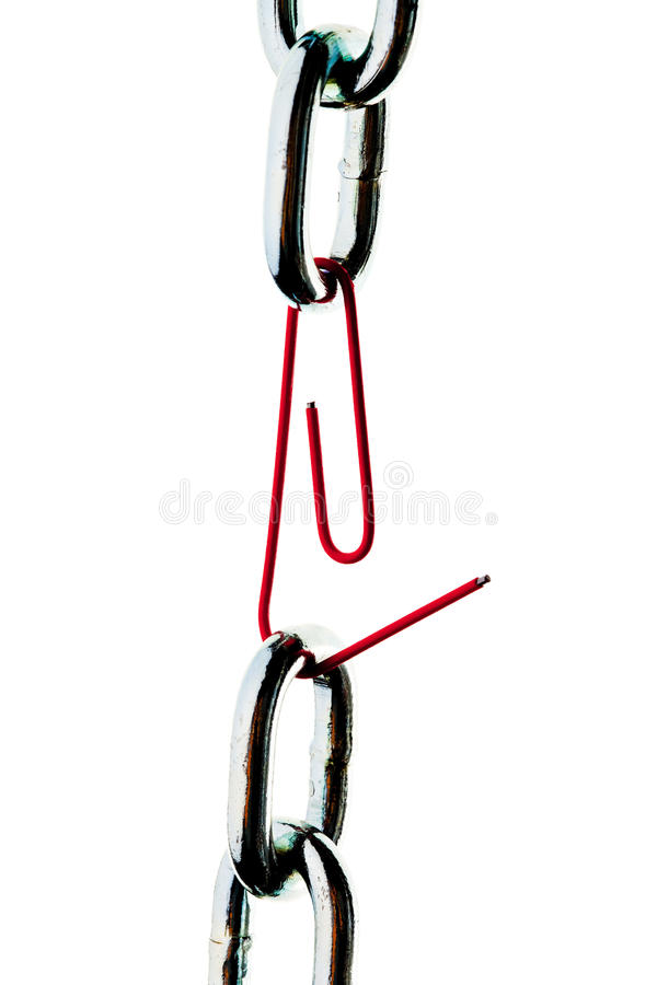 Steel chain is held together a paper clip. Faulty steel chain is held together a paper clip royalty free stock image