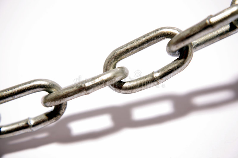 Steel chain links. And shadow stock photography