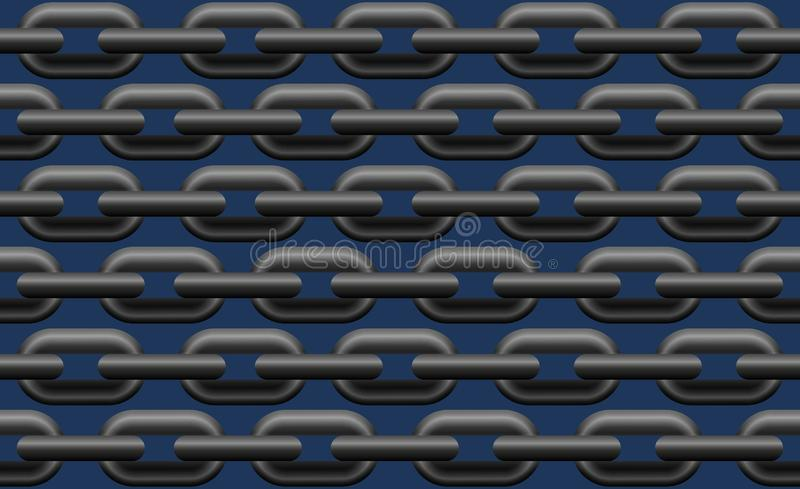 Steel Chain Seamless Pattern Blue Background royalty free illustration