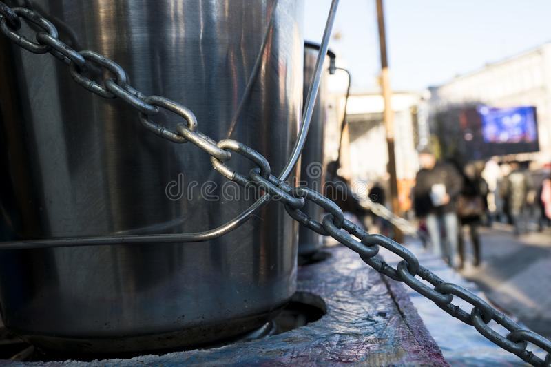 Steel chain. The steel chain is strong and holds a lot of weight stock photography