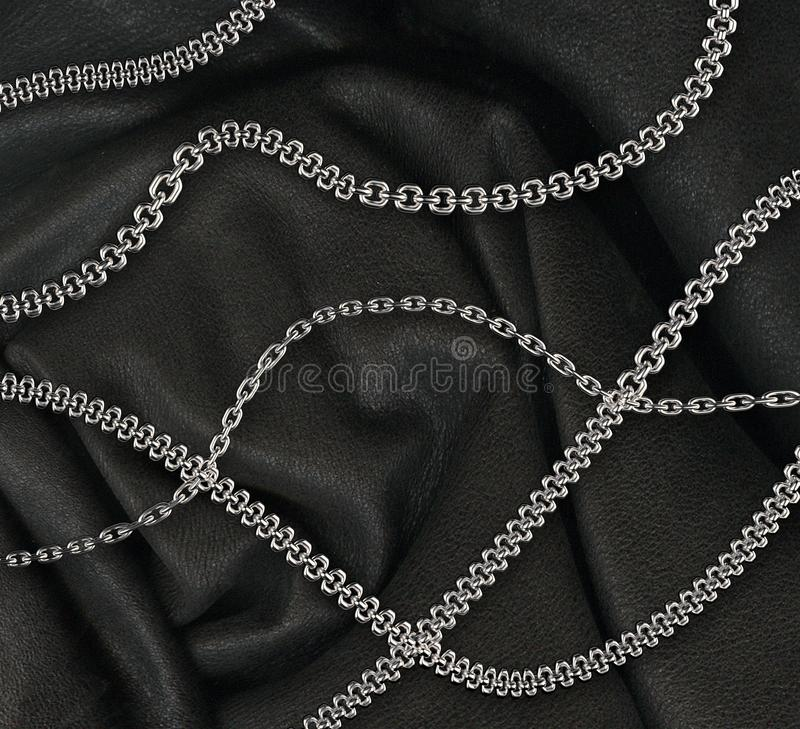 Steel chains on leather background royalty free illustration