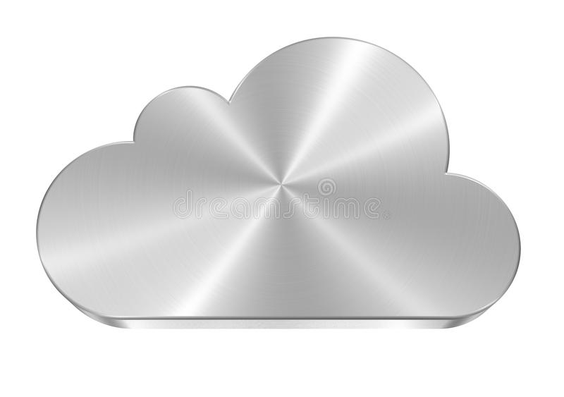 Steel Cloud. Icon made of brushed stainless steel royalty free illustration