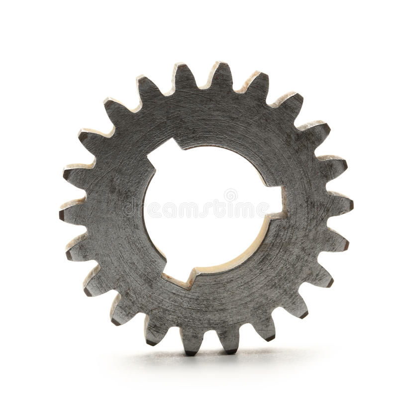 Steel cogwheels. Steel cogwheel on white background royalty free stock photography