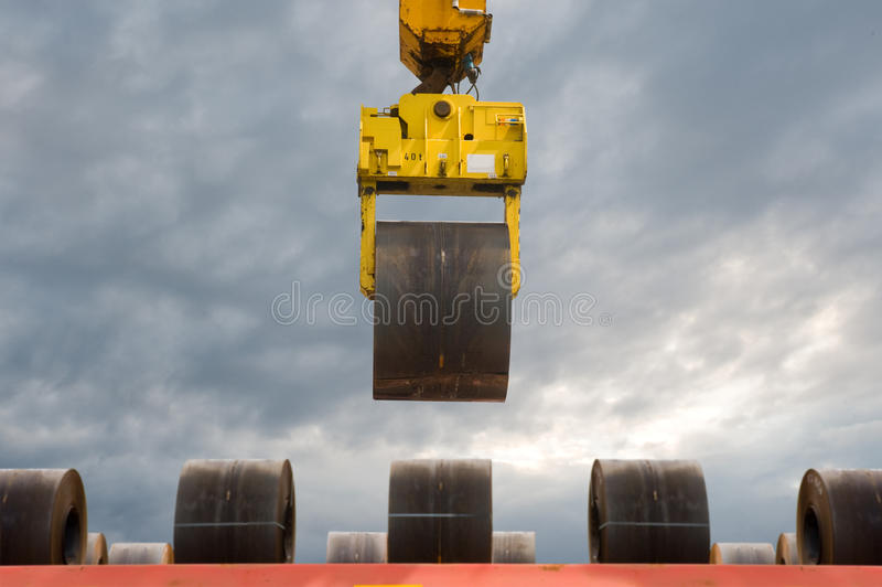 Steel Coils Handling Stock Photo