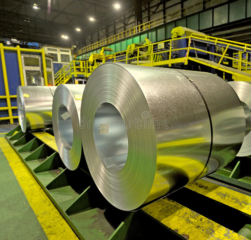 Steel coils inside a factory royalty free stock images