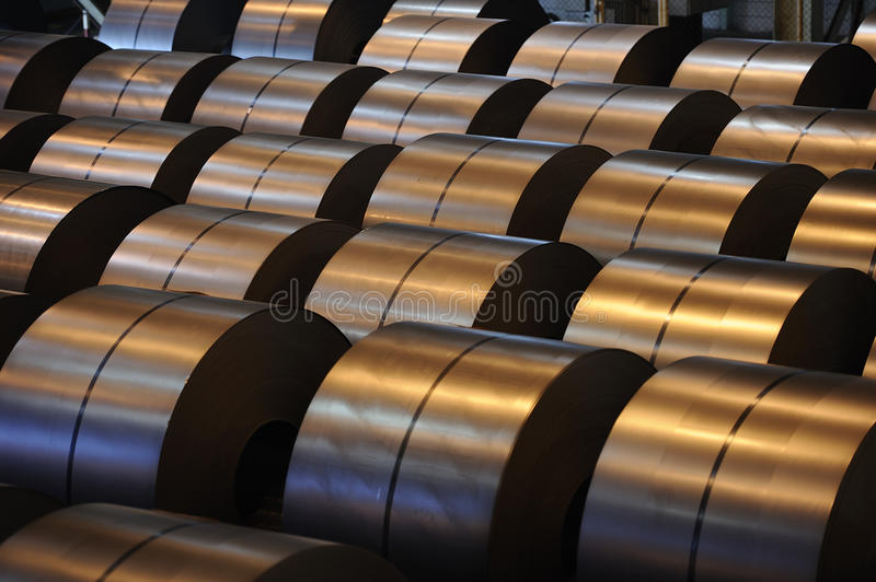 Steel coils stock images
