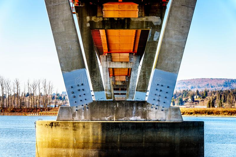 Steel and Concrete structure of Mission Bridge over the Fraser River on Highway 11 between Abbotsford and Mission royalty free stock photos