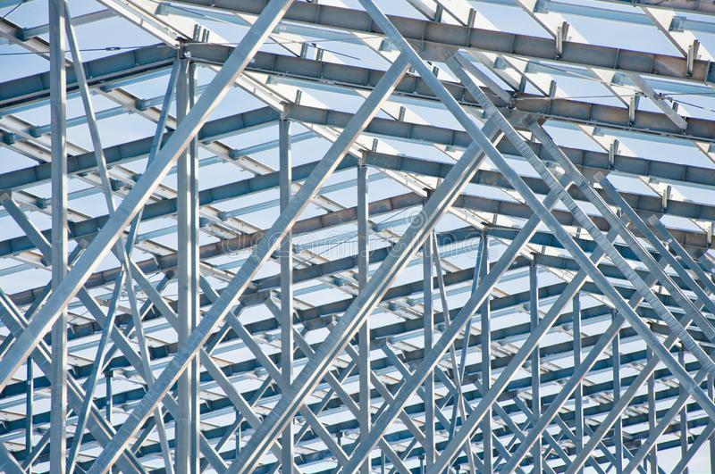 Steel construction on the background of the winter landscape. stock images