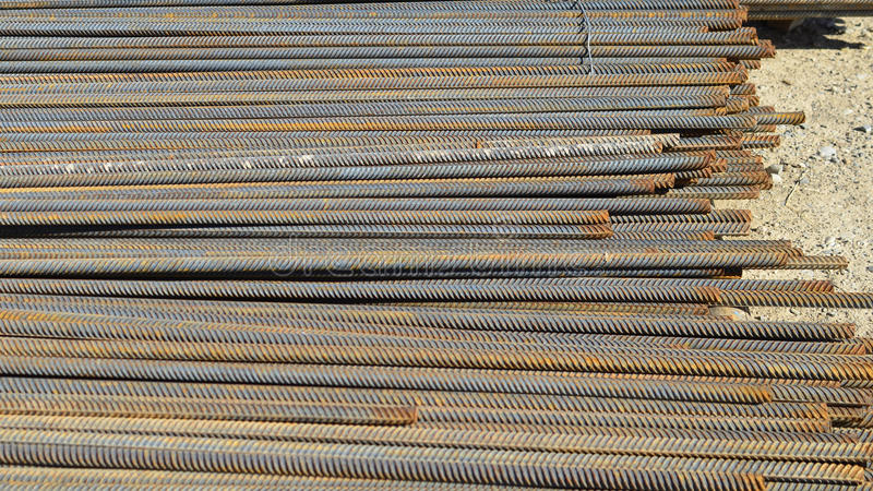 Steel construction bars on site stock photos