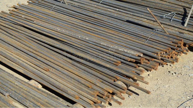 Steel construction bars on site stock image