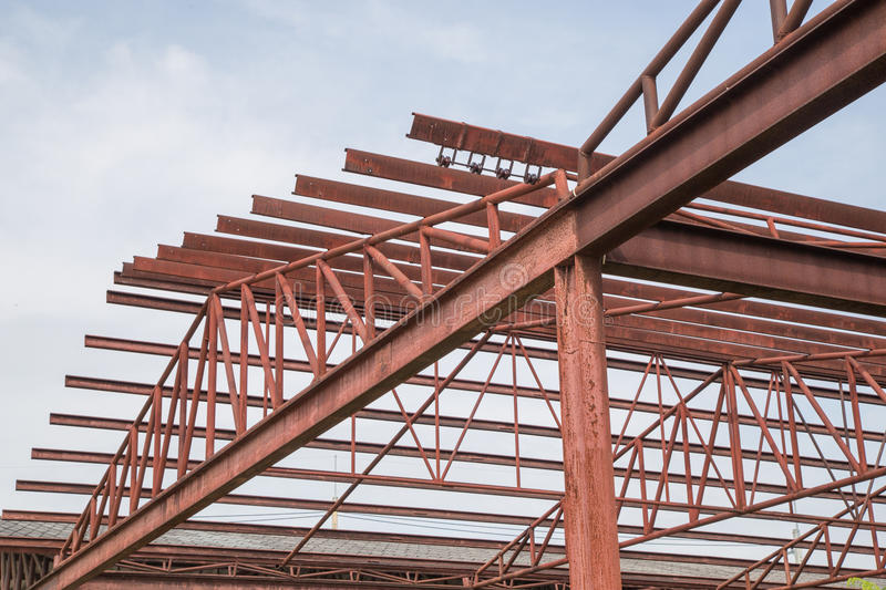 Steel Building Frame Only : Steel construction frame stock image of exterior