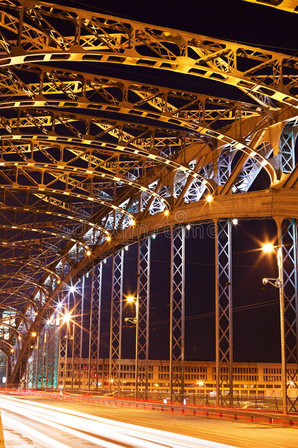 Steel construction at night royalty free stock images
