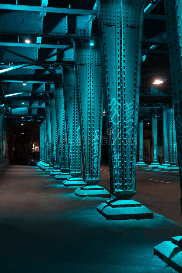 Steel construction from under the bridge royalty free stock photo