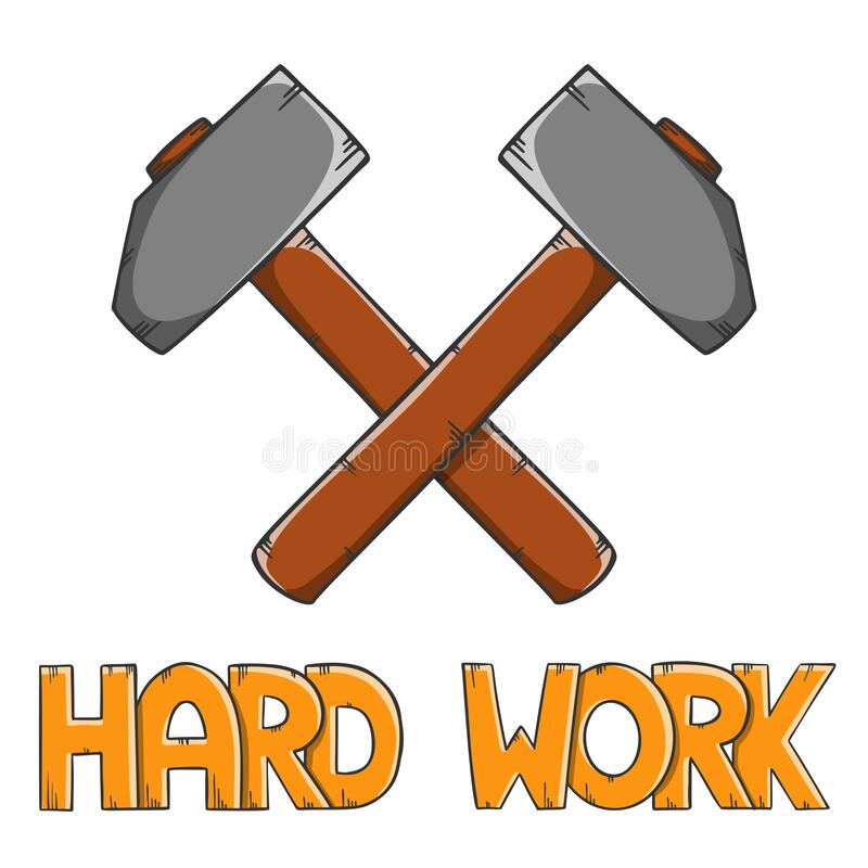 Steel crossed hammers with lettering Hard Work, forge workshop. Cartoon style vector. Isolated on white background stock illustration