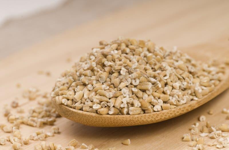 Steel cut oats on a wooden spoon royalty free stock image