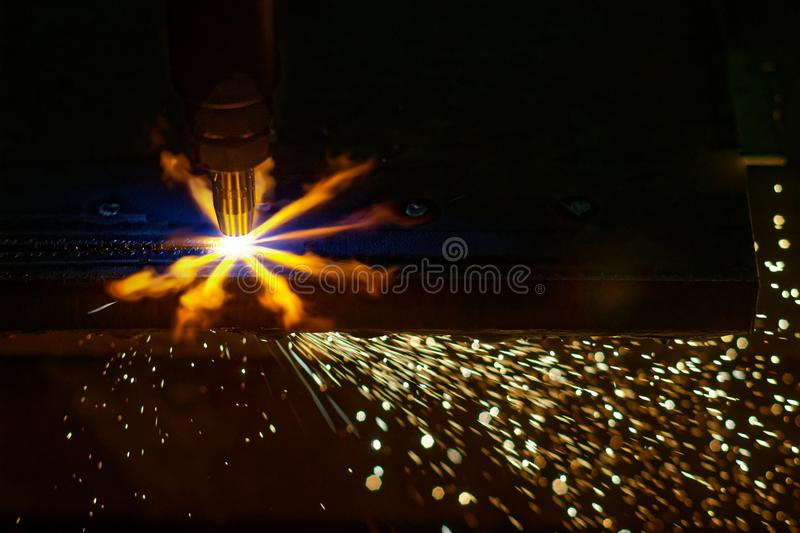 Steel cutting with acetylene stock image
