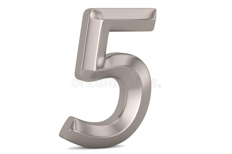 Steel 3D numeral isolated on white background. 3D illustration.  stock illustration