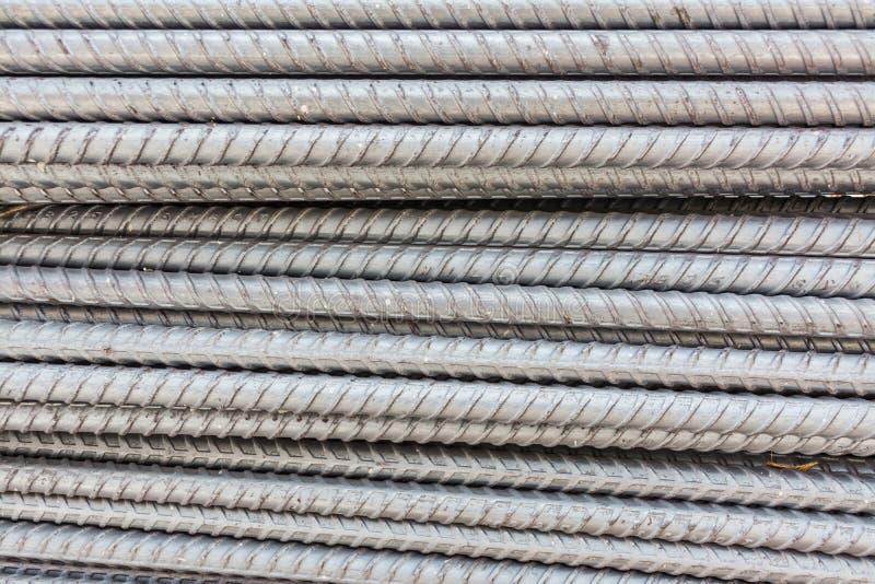 Steel deformed bars. Texture and pattern of steel deformed bars stock photo