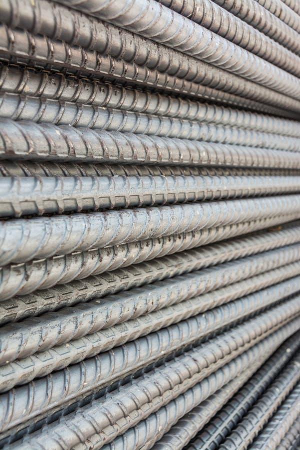 Steel deformed bars. Texture and pattern of steel deformed bars stock images