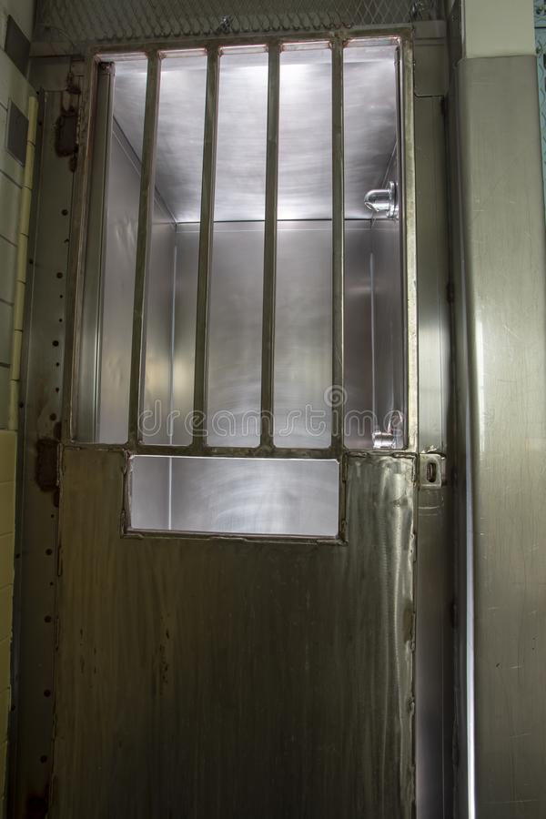 Metal Door With Bars On Shower Stall In Prison Stock Image - Image ...