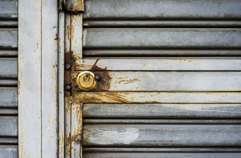 Steel door and Key lock photo stock photo