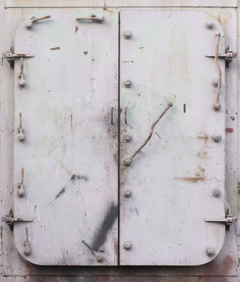 Steel doors stock image