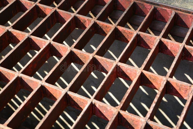 Steel drain grate stock image