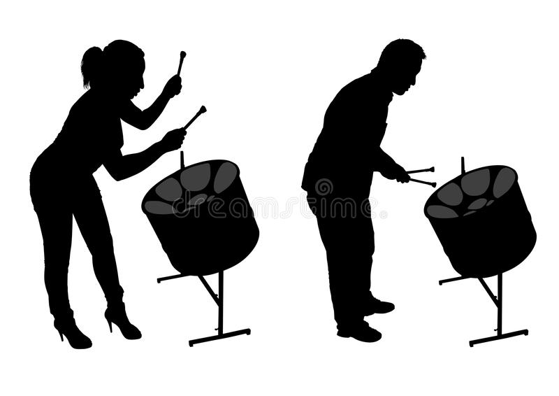 Steel Drum Players Silhouettes Stock Vector