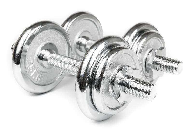 Steel Dumbbells Isolated on white. Steel Dumbbells for weightlifting. Isolated on white royalty free stock image
