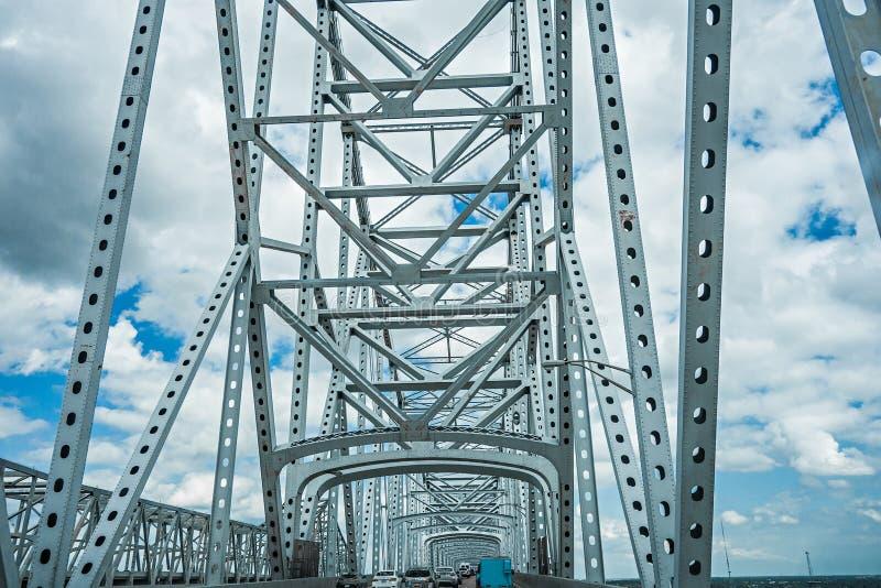 Steel engineered highway bridge structure stock images