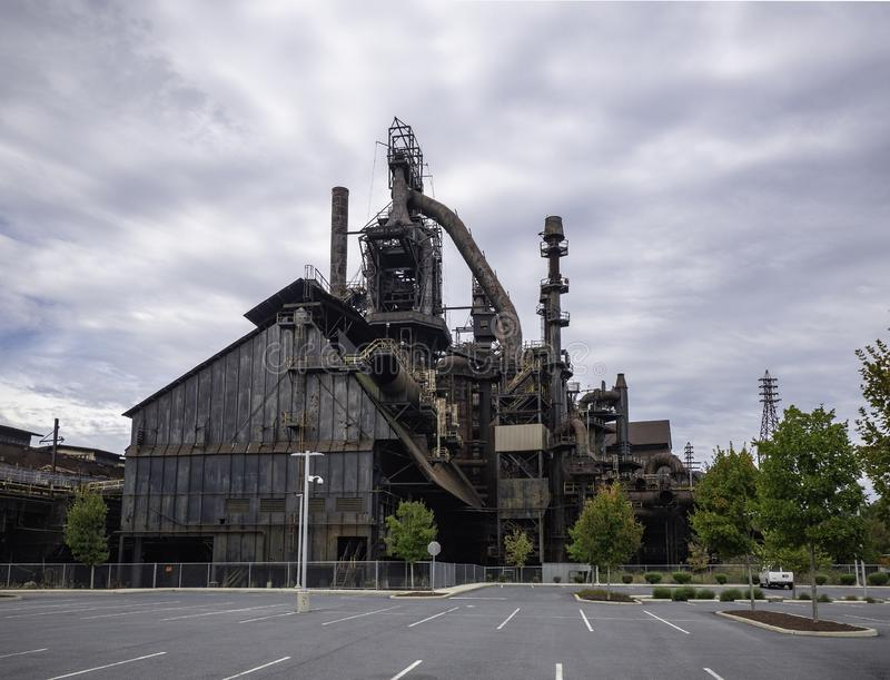 Steel factory still standing in Bethlehem PA stock image