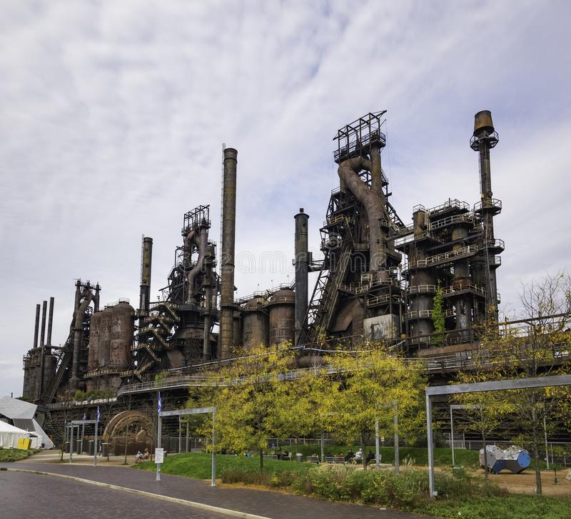 Steel factory still standing in Bethlehem PA stock photo