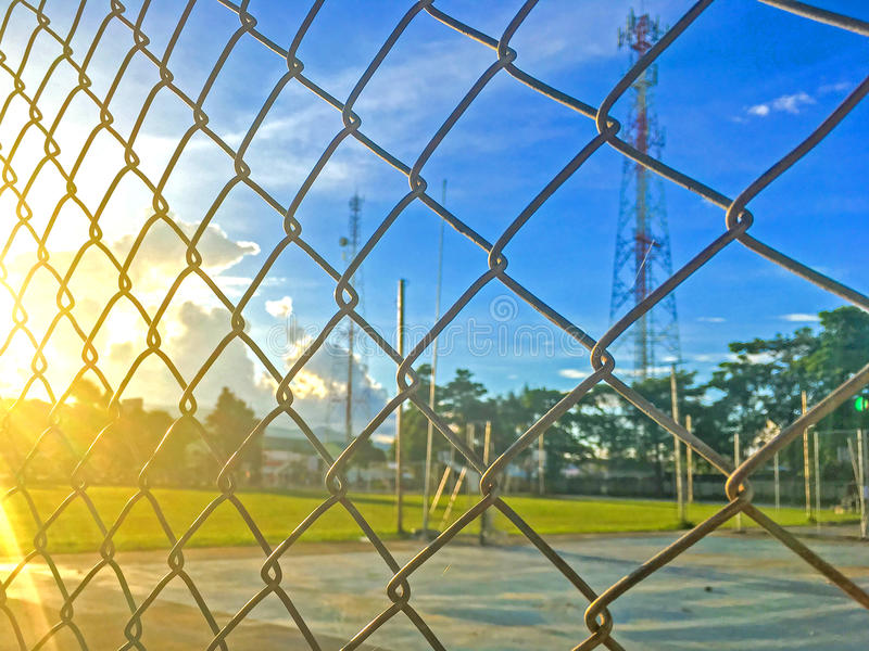 Steel fence cages stock photography