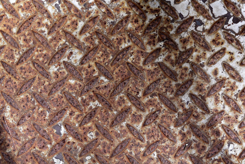 Steel floor background texture. Rusty panel with non-slip surface stock photos