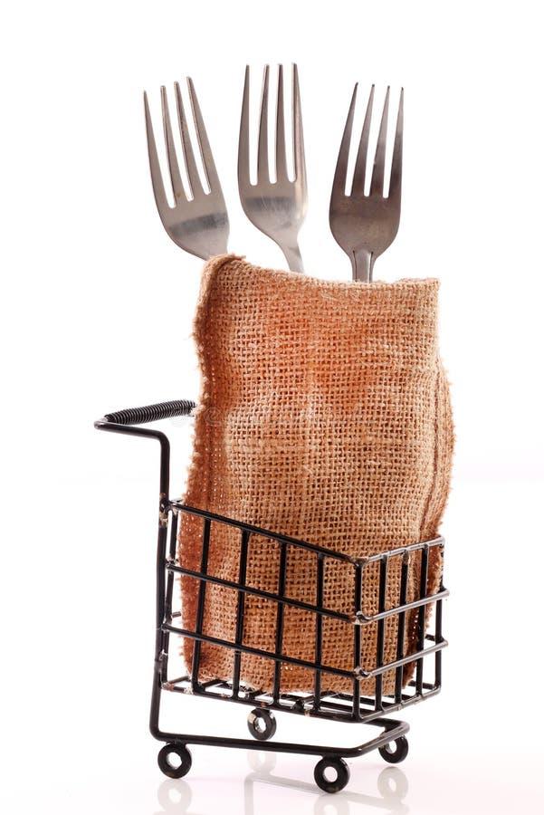 Steel forks stock photo