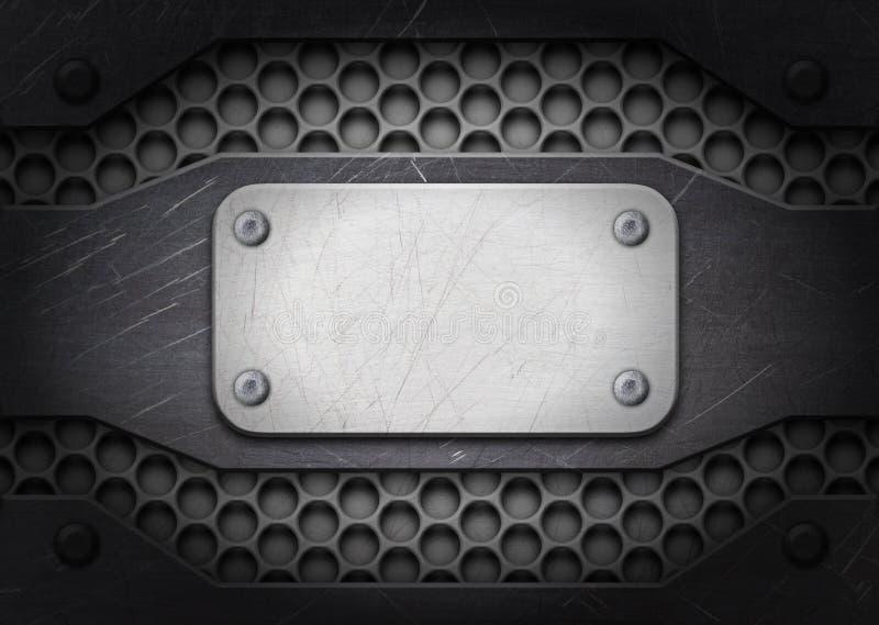 Steel frame, background old metal plate with rivets stock illustration