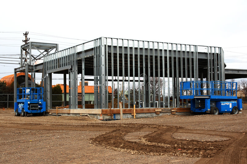 Steel Frame Construction Building Stock Image - Image of building ...