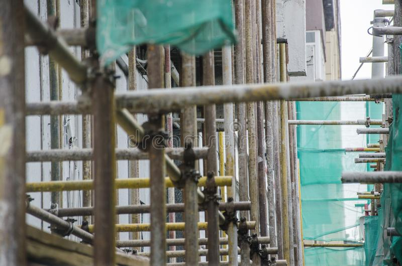 Steel frame of construction site stock photos