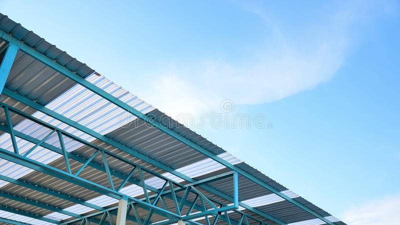 Steel frame structure of metal sheet roof. stock photography
