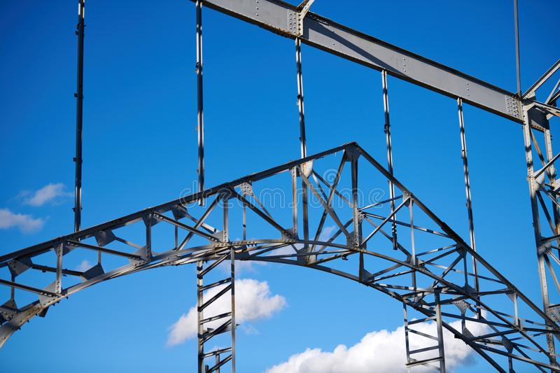 Steel frame of warehouse for goods. Metal construction of railway building stock images